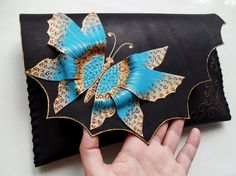Turquoise butterfly clutch Black clutch with by spiculdegrau