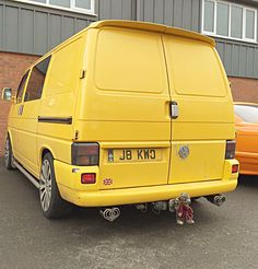 """Nice yellow vw transporter fitted without stainless steel twin heart tail pipe exhaust with """"vw"""" logo. Volkswagen Transporter, Vw T5, Vw Logo, Twins, Van, Stainless Steel, Yellow, Nice, Heart"""