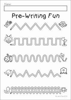 Spring Preschool No Prep Worksheets & Activities. A page from the unit: pre-writing activity