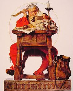 "Norman Rockwell and his Paintings | Cuded Christmas Santa Reading Mail, 1935 Another ""everyday"" scene of the painter. This time the main character is the imaginary Santa, but represented so realistically, fitting into the irresistible magic of Christmas holidays."