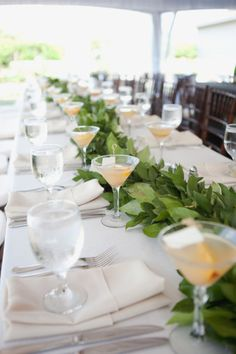 Any bees who did greenery instead of flowers? Banquet Tables, Reception Table, Wedding Reception, Banquet Ideas, Elegant Wedding, Instead Of Flowers, Greek Wedding, Seaside Wedding, Beach Weddings