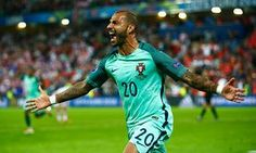 Ricardo Quaresma of Portugal celebrates scoring the opening goal during the UEFA EURO 2016 round of 16 match between Croatia and Portugal at Stade. Psg, Portugal Euro 2016, Portugal Soccer, Uefa Euro 2016, We Are The Champions, European Cup, European Championships, Sports Pictures, Cristiano Ronaldo