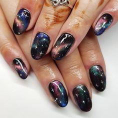 Gel Nails, Acrylic Nails, Manicure, Simple Nail Designs, Gel Nail Designs, Black Nails With Glitter, Space Nails, Moon Nails, Vacation Nails