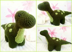 "FREE Crochet Pattern!!! ""Meet Dexter, my little green dinosaur. He stands 6,7 inches (17cm) tall, and he is 13 inches (33cm) long. If you want to make him, here is what you need:"