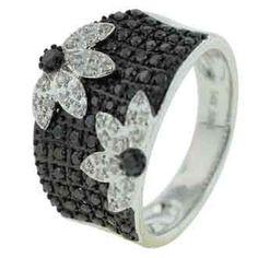 0.74 Carat Black Diamond 14K White Gold Women Rings: Ring Size: 7 (Sizable)