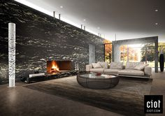 On the wall: Black Cosmic Granite by Antolini  Au mur : Granit Noir Cosmique d'Antolini