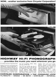 The 1955 Chrysler vinyl player for cars