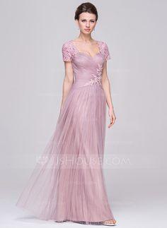 f005ab80e593 A-Linie Princess-Linie Schatz Bodenlang Tüll Kleid für die Brautmutter mit  Rüschen Perlstickerei Pailletten (008056890)
