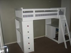 SINGLE Bunk Bed Loft Bunk Bed WHITE Bunk With Desk Drawers