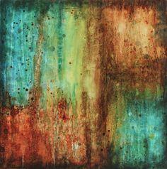 abstract industrial drip painting on wood modern urban rust orange blue yellow green brown via Etsy