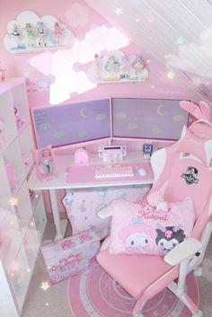 Room Design Bedroom, Room Ideas Bedroom, Room Decor, Gaming Room Setup, Pc Setup, Kawaii Bedroom, Cute Room Ideas, Hello Kitty, Pink Games