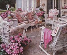 "Romantic ""pink and pretty"" wicker"