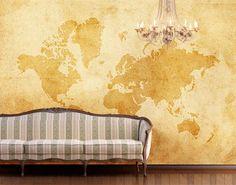 Fototapete Antike Weltkarte auf alt gemacht - Größe 400 x 280 cm, 8-teilig