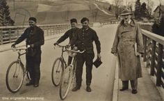 An unusual encounter. Three German workers come across Adolf Hitler on a bridge.