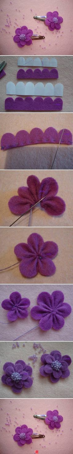 diy cute felt flowers purple clip tutorial with beads - headwear, felt flowers crafts - wow! ✥ these diy felt fabric flowers are awesome by Felt Diy, Felt Crafts, Fabric Crafts, Sewing Crafts, Diy Crafts, Felt Flowers, Diy Flowers, Fabric Flowers, Flower Diy