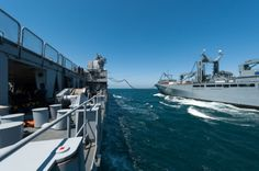 French ship Siroco takes fuel from German replenishment ship Frankfurt am Main, May 22, during Franco/German exercise, in the Atlantic, Spontex 2013.