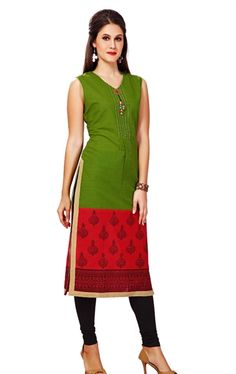 Picture of Chic Fuchsia and Green Ready Made Kurti