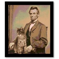 President Lincoln and his cat....