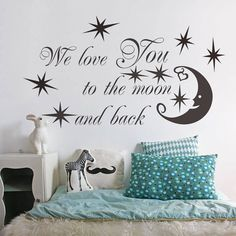 SWORNA Baby Nursery Series We Love You To The Moon with Moon/Star Removable Vinyl DIY Kids Wall Art Decal Saying Lettering Quotes Uplifting Children's Bedroom/Playroom/Kindergarten 24_'¢ H X 46_'¢ W Black -- Special  product just for you. See it now! : home diy wall