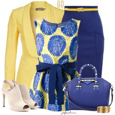 A fashion look from March 2014 featuring blue top, blazer jacket and pencil skirts. Browse and shop related looks. Classy Outfits, Stylish Outfits, Work Fashion, Fashion Looks, Fashion Tips, Moda Formal, Professional Outfits, Complete Outfits, African Fashion