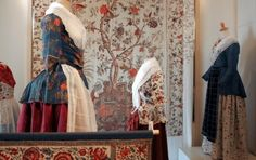 """"""" Museum of the Golden Lion. The museum is located in a former tavern (built in in the village of Noordhorn, in the province of Groningen. It features an exhibit of regional costumes of northern Netherlands. Historical Clothing, Women's Clothing, Woven Cotton, Cotton Fabric, Dutch Netherlands, Golden Lions, East India Company, Exhibit, 18th Century"""