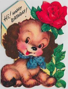Vintage Greeting Card Dog Rose Flower Diecut L567