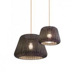 Black rattan style pendants in three sizes. Suitable for both indoors and undercover outdoors Basket Lighting, Patio Lighting, Lighting Showroom, Lighting Store, Industrial Pendant Lights, Pendant Lighting, Custom Lighting, Lighting Design, Classic Interior
