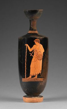 A young man holding a lyre made from a tortoise shell decorates this Athenian red-figure lekythos. He stands resting one hand on a walking stick and wearin. Classical Greece, Classical Period, Classical Art, Ancient Greek Art, Ancient Greece, Greek Pottery, Greek And Roman Mythology, Sea Peoples, Getty Museum
