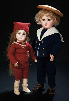 Émile-Louis Jumeau (1843-1910) —  Bisque Bebe Size 7 in Rare Red Knit Beach  &   Bisque Bebe Original Jumeau Mariner Costume and Signed Shoes  (564×825)