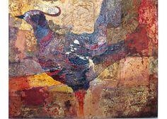 Abstract Bird Original Painting Bird Fantasy by MarshNelsonStudio