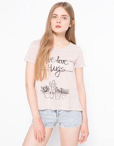BSK text t-shirt - Woman - Bershka Israel
