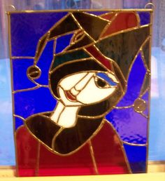 Colorful Jester Stained Glass Panel