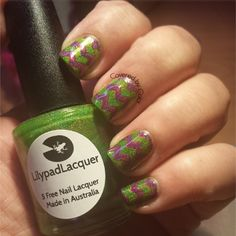 Nail Art - Lilypad Lacquer Frogs Alive and Rolling in Rubies
