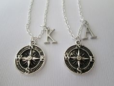 2 Compass Initial Best Friend Necklaces. by HazelSarai on Etsy, $28.00