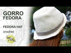 Gorro Fedora   Lanas y Ovillos Crochet Baby Poncho, Knit Crochet, Crochet Hats, Knitting Videos, Crochet Videos, Sombrero A Crochet, Crochet Basics, Crochet Accessories, Single Crochet