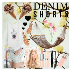 """denim shorts"" by yolopolo-jp on Polyvore featuring Lancôme, HUGO, jeanshorts, denimshorts and cutoffs"