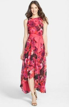 I don't usually like long dresses OR patterns, but this really might be OK! Eliza J Print High/Low Chiffon Dress High Low Summer Dresses, High Low Chiffon Dress, Chiffon Maxi, Lovely Dresses, Day Dresses, Long Dresses, Nordstrom Dresses, Pretty Outfits, Designer Dresses