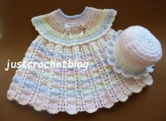 Crochet dress-sun hat, a free crochet pattern for a 3-6 month baby, made in a variegated worsted weight #3 yarn on a 4.00mm crochet hook.................