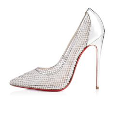 """Monsieur Louboutin once said, """"I prefer shoes that undress to shoes that dress."""" Behold """"Follies Resille,"""" the new barely-there 120mm pump in the Fall/Winter collection. Her luxurious silver fishnet upper exposes nearly every inch of the foot, creating a silhouette that is exquisitely """"undressed."""""""