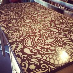Stenciled desk top paisley pattern.  Shannon follow us on Facebook Reclaim-ologists and Other Crafty Chicks