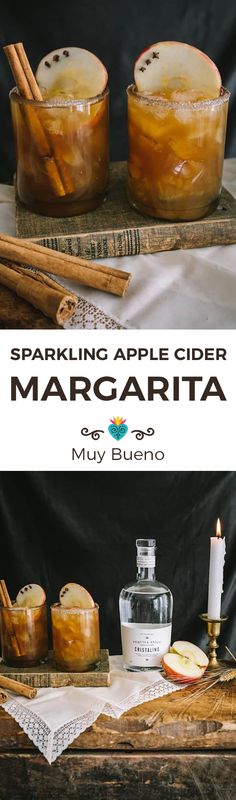 This Sparkling Apple Cider Margarita (Manzana Paloma) is crystal clear añejo tequila combined with apple cider, maple syrup, and a splash of sparkling mineral water - a delicious after dinner drink for the fall! #ad #margarita #mexican #mexicanrecipe #manzanapaloma #cocktail | MuyBuenoCookBook.com @MuyBueno