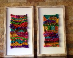 Telares chilenos Smaller ones framed - like it! Weaving Textiles, Tapestry Weaving, Loom Weaving, Hand Weaving, Weaving Wall Hanging, Hanging Wall Art, Yarn Crafts, Diy And Crafts, Diy Y Manualidades