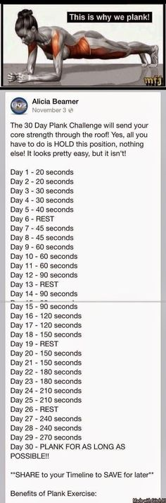 This is why we plank! 30 day challenge. This is the BEST for toning and strengthening my core. #health #fitness #workout #Weightloss #musclebuilding #exercise #tips http://www.walktc.net/
