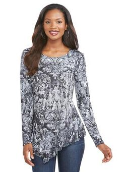 Cato Fashions Floral Scroll Print Asymmetrical Top #CatoFashions