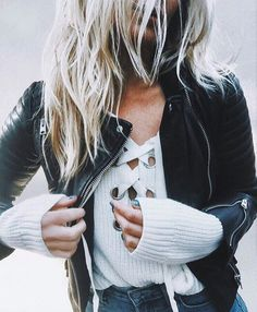 lace up ribbed sweater + moto jacket