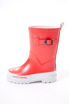 Overcrawls Gumboots - Cherry Red - $39.95 - Bright and funky cherry red kids wellies by Australian designer range Overcrawls!  Whether it's jumping in puddles or helping out in the garden these gorgeous girls gumboots will keep your little ones feet dry, comfy and looking oh so stylish as well!  Perfect footwear to team with some comfy pants, jeans or overalls! #littlebooteek #kids #unisex #footwear #fashion #overcrawls