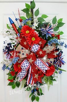 This Patriotic Front Door Hanger/Swag will be perfect to celebrate the 4th of July or for any Patriotic holiday! We love to welcome family and friends into our homes to celebrate special occasions or just to have them over for a visit, and this wreath will be the perfect welcome!