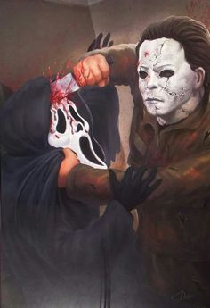 Ghostface vs Michael Myers I would love to see a movie where they go at it. My two favorites. All Horror Movies, Scary Movies, Michael Myers, Arte Horror, Horror Art, Scream Movie, Halloween Film, Slasher Movies, Ghost Faces