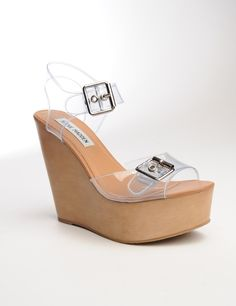 Faux Wood Wedge with Clear Buckle Straps