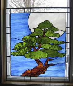 Bonsai Moon Stained Glass Window Panel EBSQ Arist   stainedglassheirlooms - Glass on ArtFire